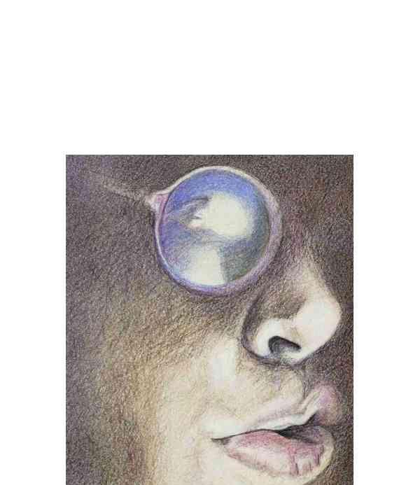 Autoportrait - crayons de couleur  11 x 12,7cm - 1981