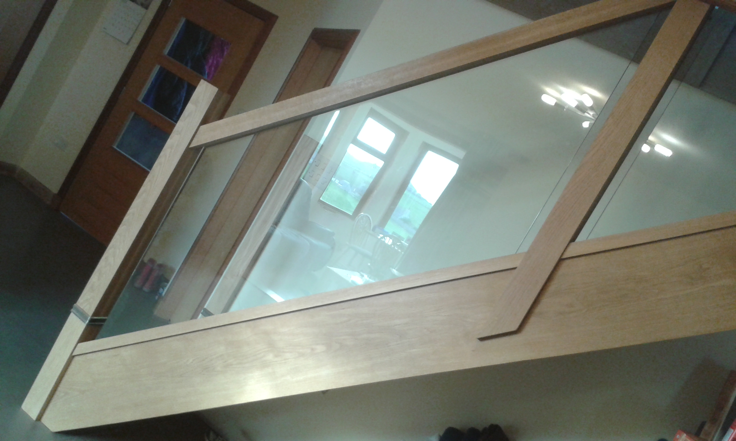 oak staircase with glass
