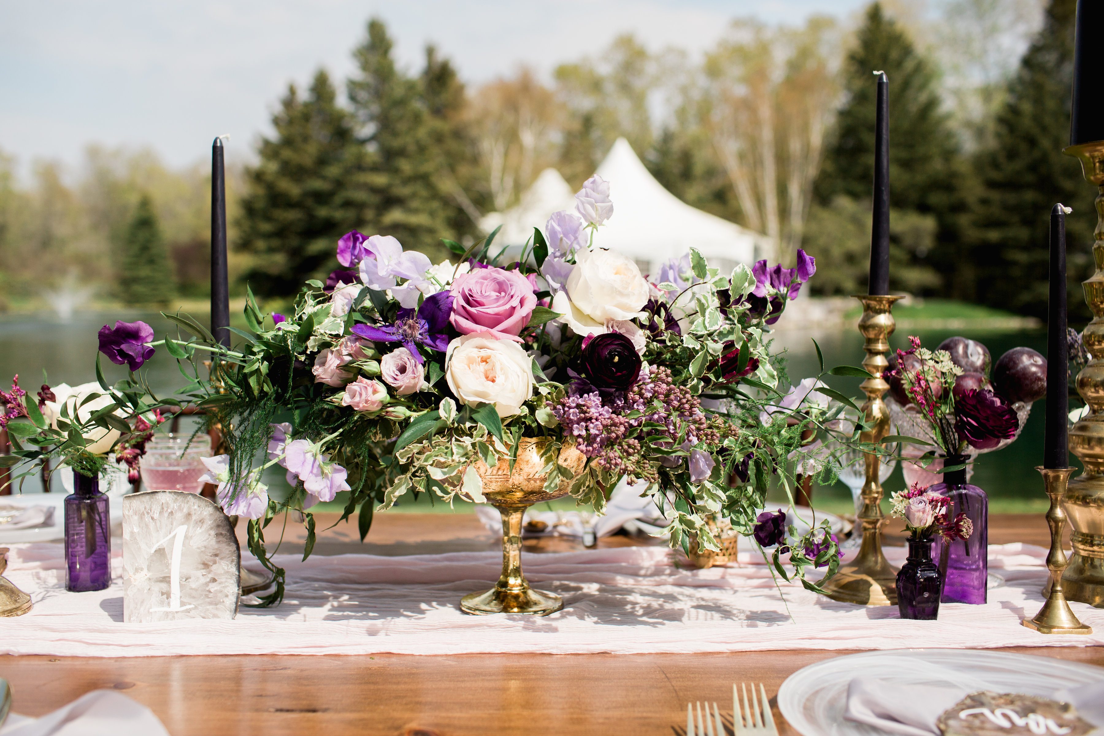 Shades of Liliac Compote Centrepiece