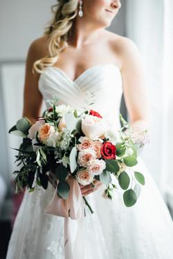 Peach Blush Marsala White Bouquet