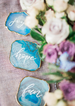 Blue/ Gold Geode Table Words