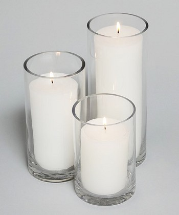 Pillar Candles in Cylinder Glass