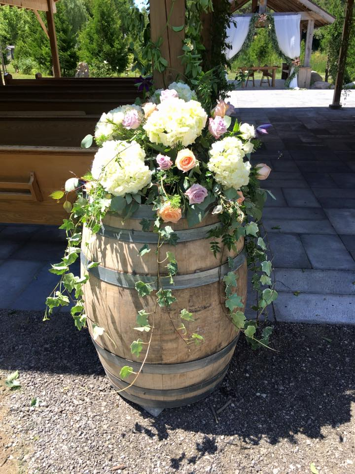 Aspen Florist Wine Barrel Flowers
