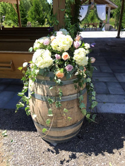 Aspen Florist Wine Barrel Flowers