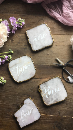 Blush /Gold Geode Table Numbers
