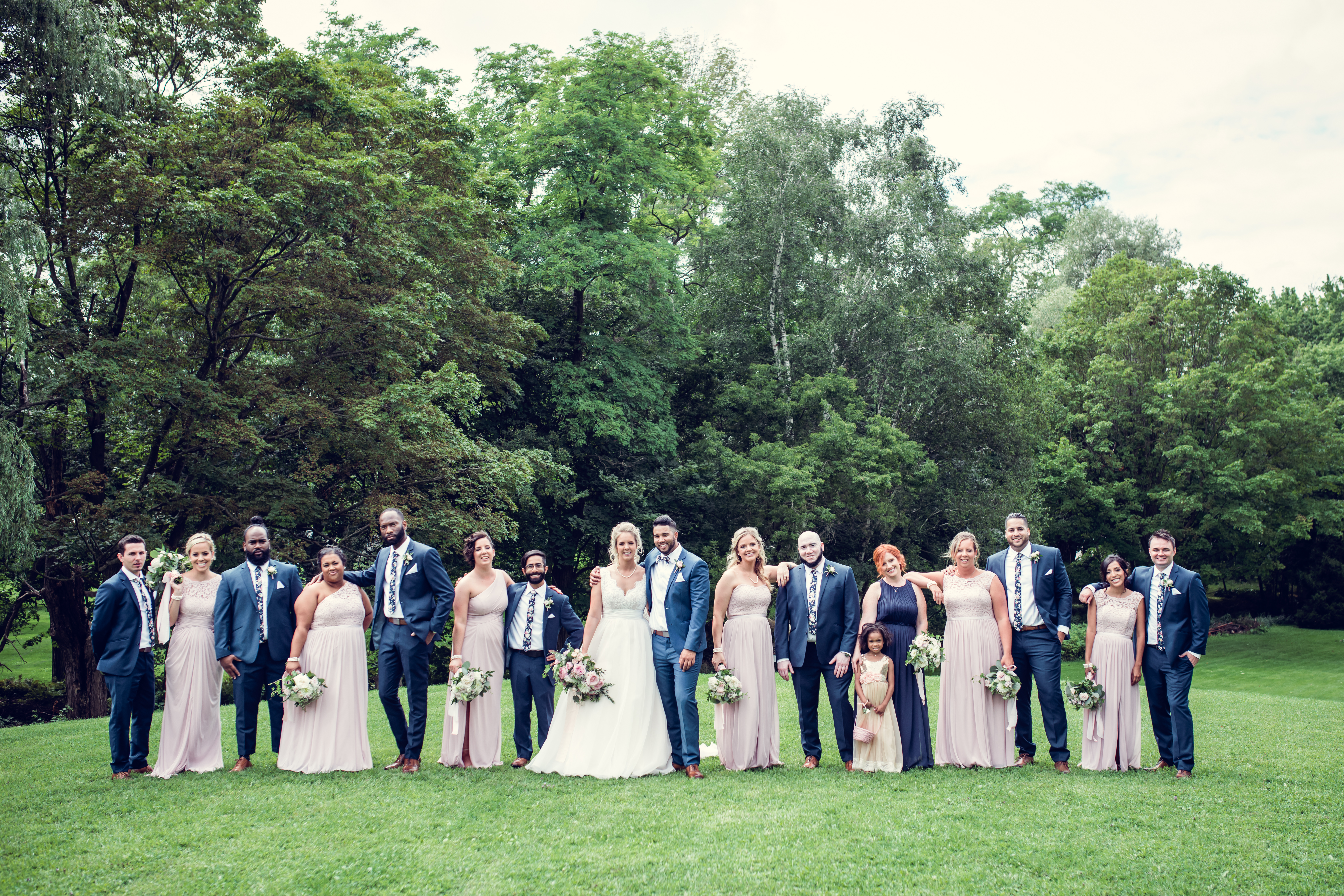 Blush and Navy Bridal Party