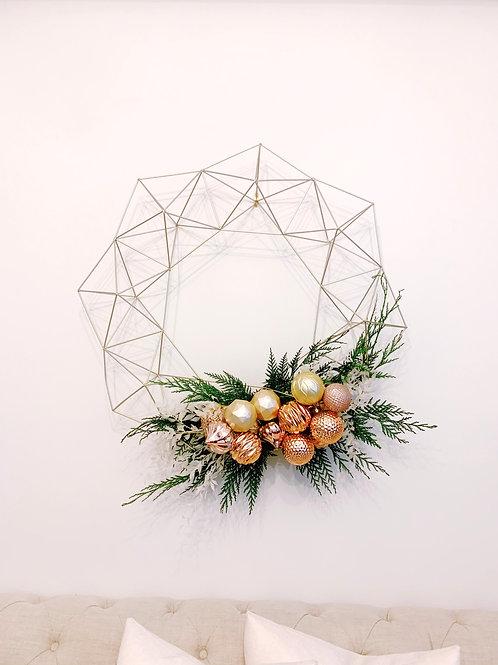Gold Wire Geometric Wreath