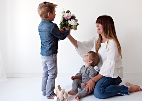Mother & Sons Flower Photoshoot