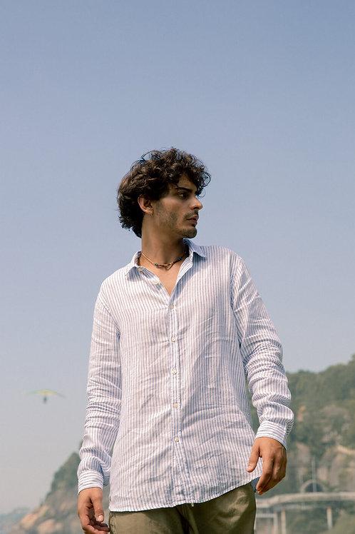 Camisa linho manga longa listra Maxime