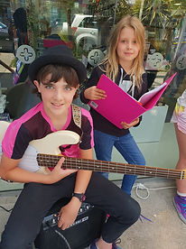 Bassist and singing busking in Wellington