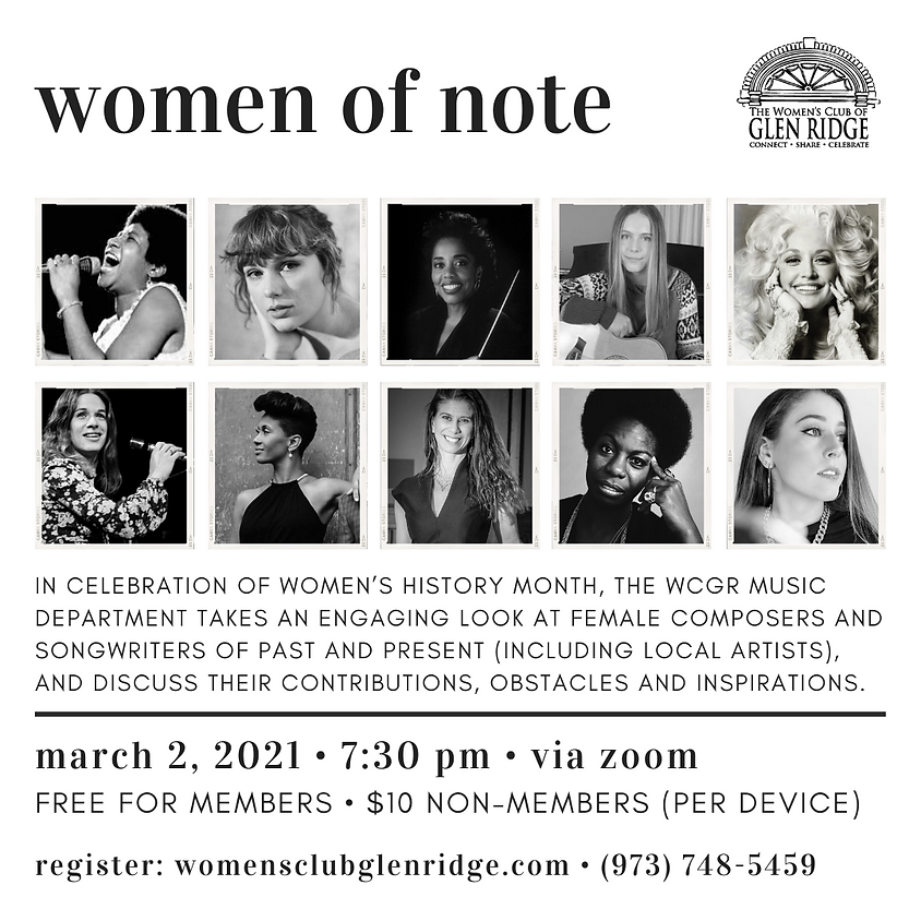 """March Monthly Meeting - The Music Department presents """"Women of Note"""""""