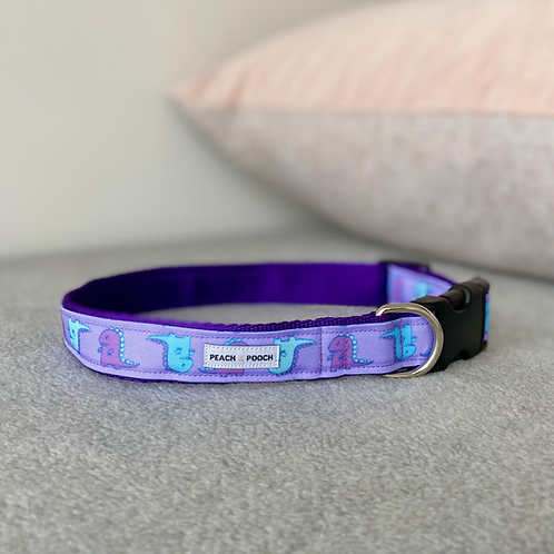 Purple Dino Dance Dog Collar
