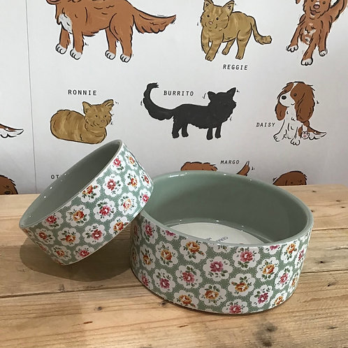 Cath Kidston Green Floral Dog Bowl