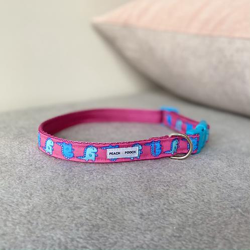 Pink Dino Dance Dog Collar