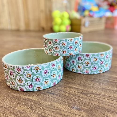 Cath Kidston Green Floral Dog Bowl