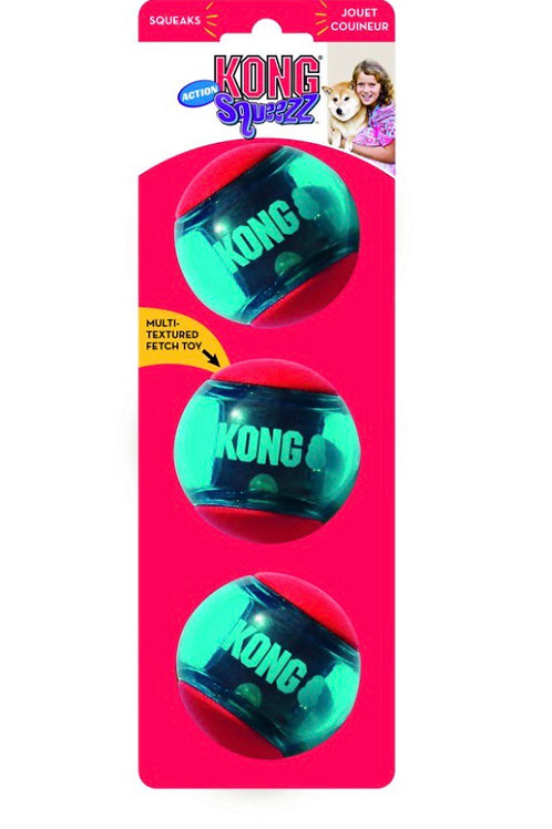 Kong Squeezz Action Red Ball Medium