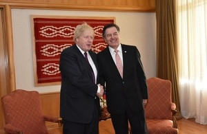 Foreign Secretary Boris Johnson and Chilean Foreign Minister Roberto Ampuero.