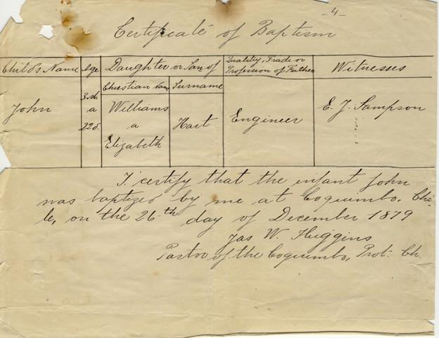 Certificate of Baptism of John N. Hart's grandfather John Hart