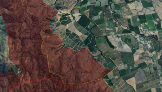 "The photo shows the limits of ""El Olivar"" from upside, all red is the burn."