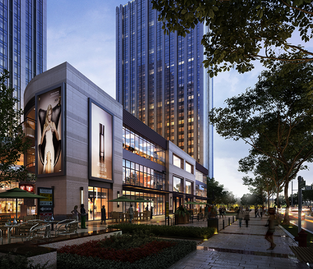 Commercial shopping area 3D rendering