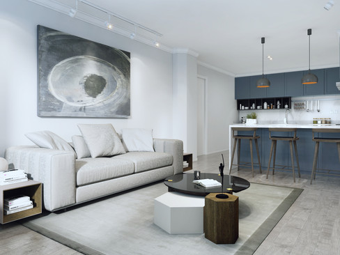 Trophy homes living room with open kitchen in Liverpool