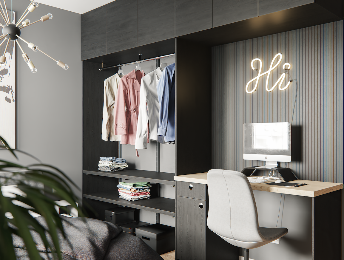 Student studio flat closet and work desk visualisation