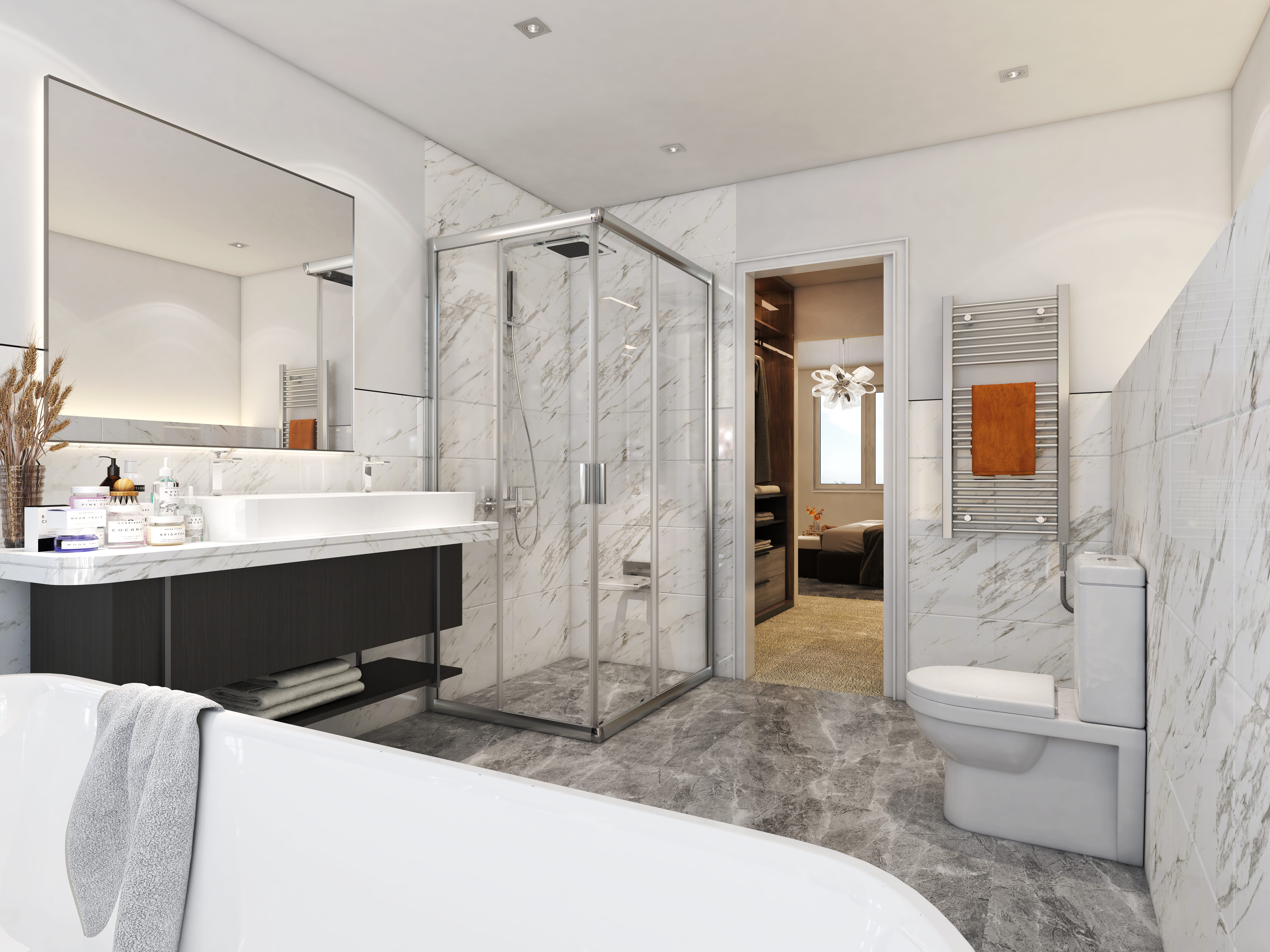 Modern bathroom with marble tiles