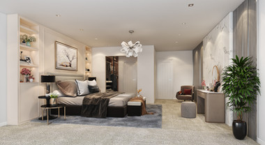 Luxurious bedroom visualisation for off the plan property marketing