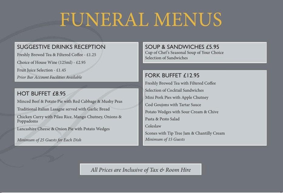 Funeral Reception Menu