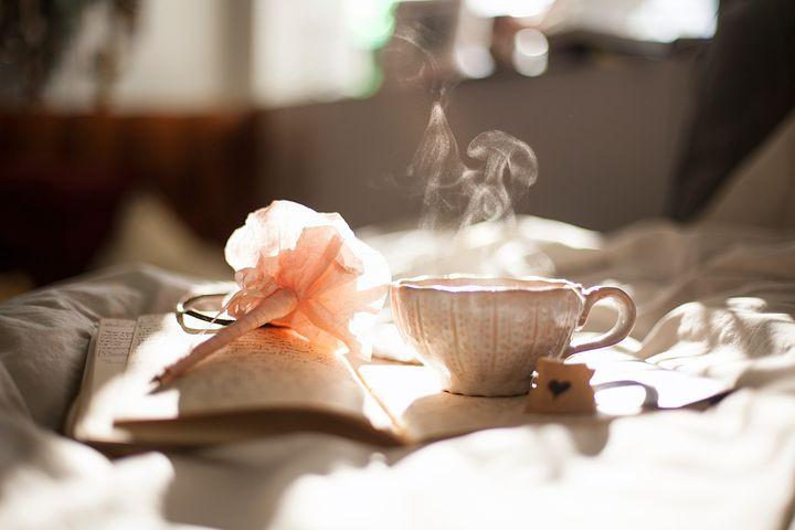 journaling, tea, relax