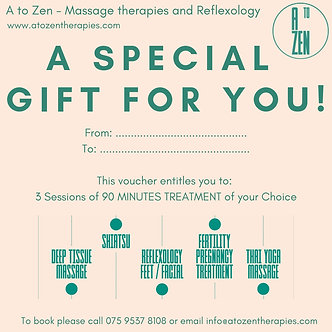 Gift Voucher - 3 Sessions of 90 minutes