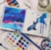 Космическая акварель, космос, акварель, акварельная живопись
