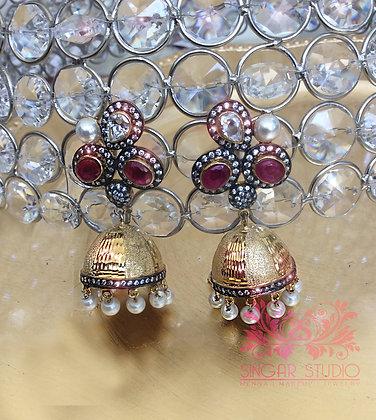 Ruby & Shell Pearls Jhumka Earrings