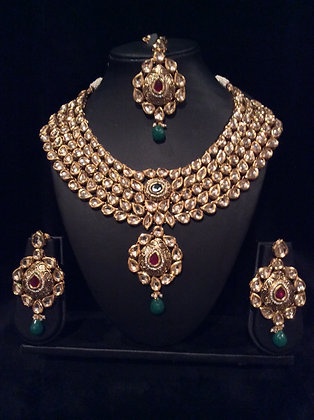 Hi quality Kundan set with Red and Green stones
