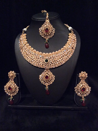 Polki Set With Green and Ruby Stones