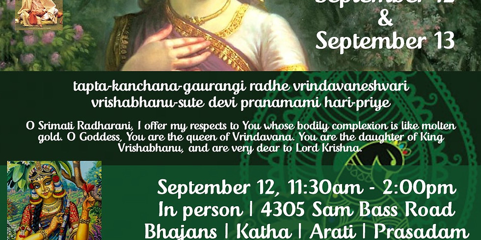 Radhastami Celebrations - Sunday Feast