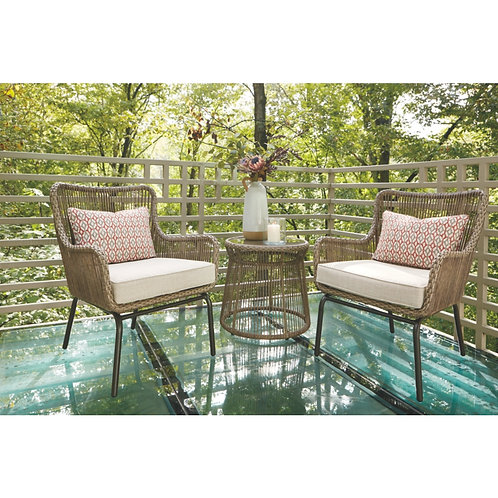 Cotton Road Brown Wicker Outdoor 3 Piece Seating Set w/ Table