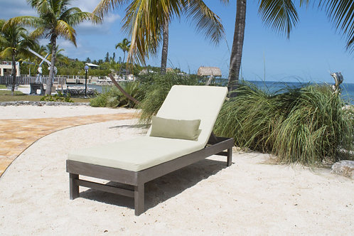 Poolside Acacia Wood Chaise Lounge with Sunbrella Fabric