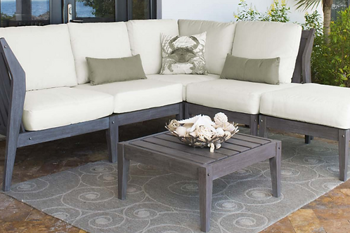 Poolside Acacia Wood Sectional 6 Pc Seating Set with choice of Sunbrella Fabric
