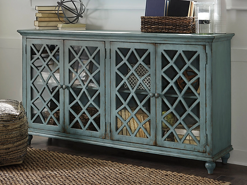 Blue Coastal Chic Accent Cabinet with Glass Doors