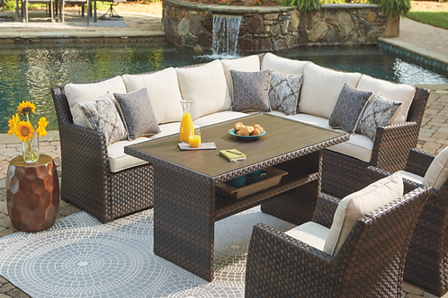 Isle 5-Piece Outdoor Sofa Sectional with Chair and Cushion