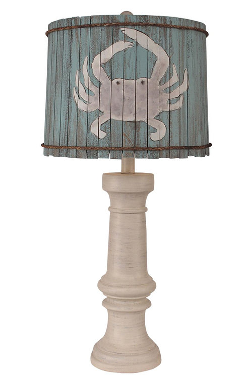 Cottage Chunky Coastal Chic Table Lamp with Crab Shade