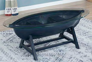 Sanibel Boat Cocktail Table (Available in Blue & Antique White)