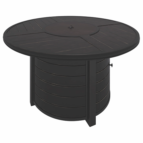 Castle Island Brown Round Fire Pit Table