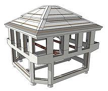 3D-bild stenhus monterad betongstomme
