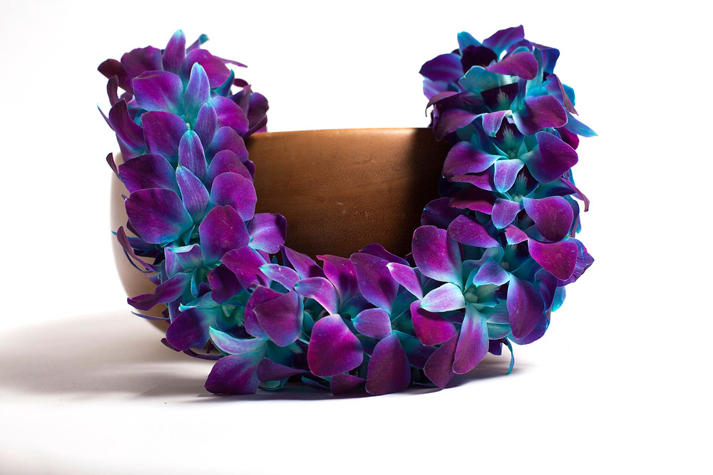 Double Orchid Lei (Purple with Blue Dye)