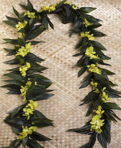 Maile Lei With Yellow Orchid Twist Lei