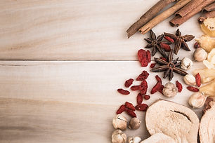 Ingredients for Chinese herbal soup on w