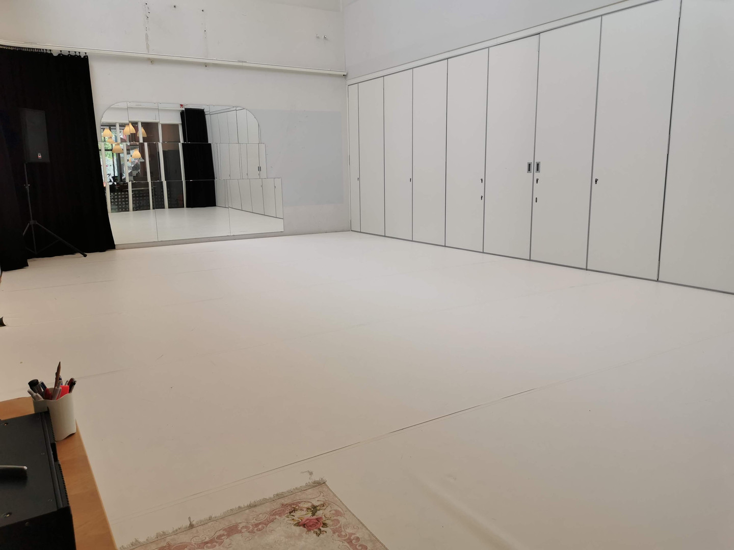 Studio 1, divided by the folding wall.