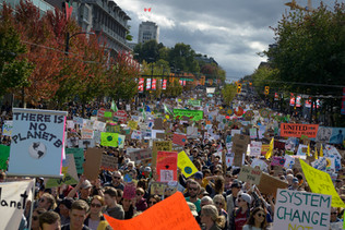 Cambie street taken by a protest in 2019, just before the last federal elections in Canada. Vancouver City Hall building, seen here in the background, is a gathering place for many of those protests. Vancouver, September 2019